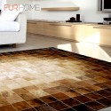 patchwork cowhide rug k-1687 mosaik beige-brown