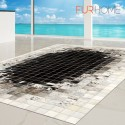 δερματινο χαλι k-1810 mosaik black-white