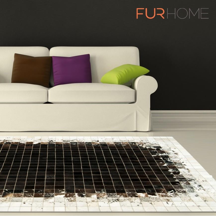 δερματινο χαλι k-1811 mosaik black-brown-white