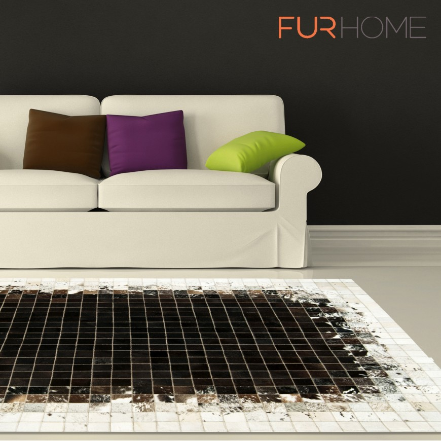 patchwork cowhide rug k-1811 mosaik black-brown-white