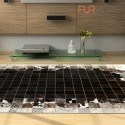 δερματινο χαλι k-1783 mosaik black-brown-white