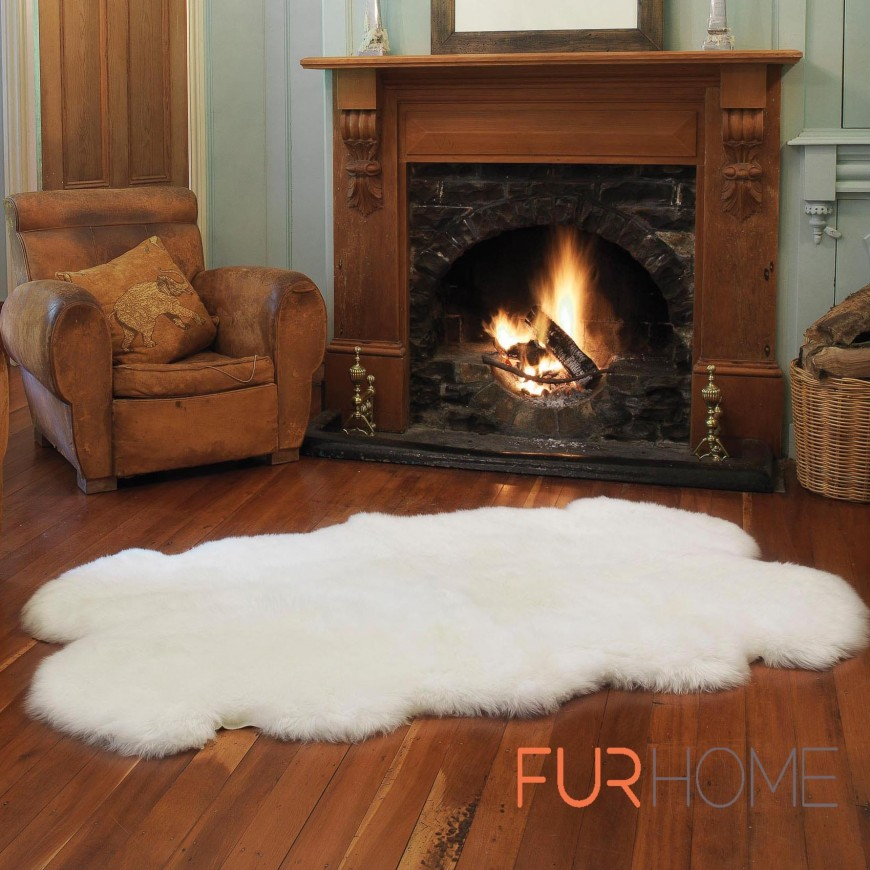 Sheepskin Rug  4 P Quatro Colour Ivory - white