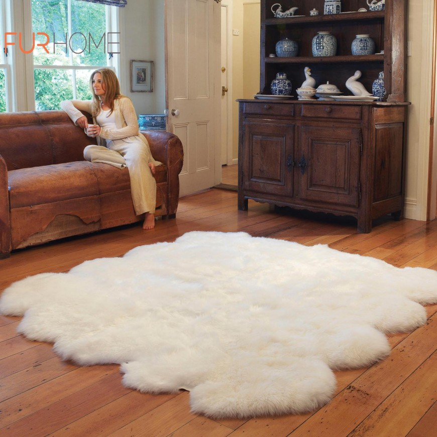 Sheepskin Rug 8 pcs white ivory