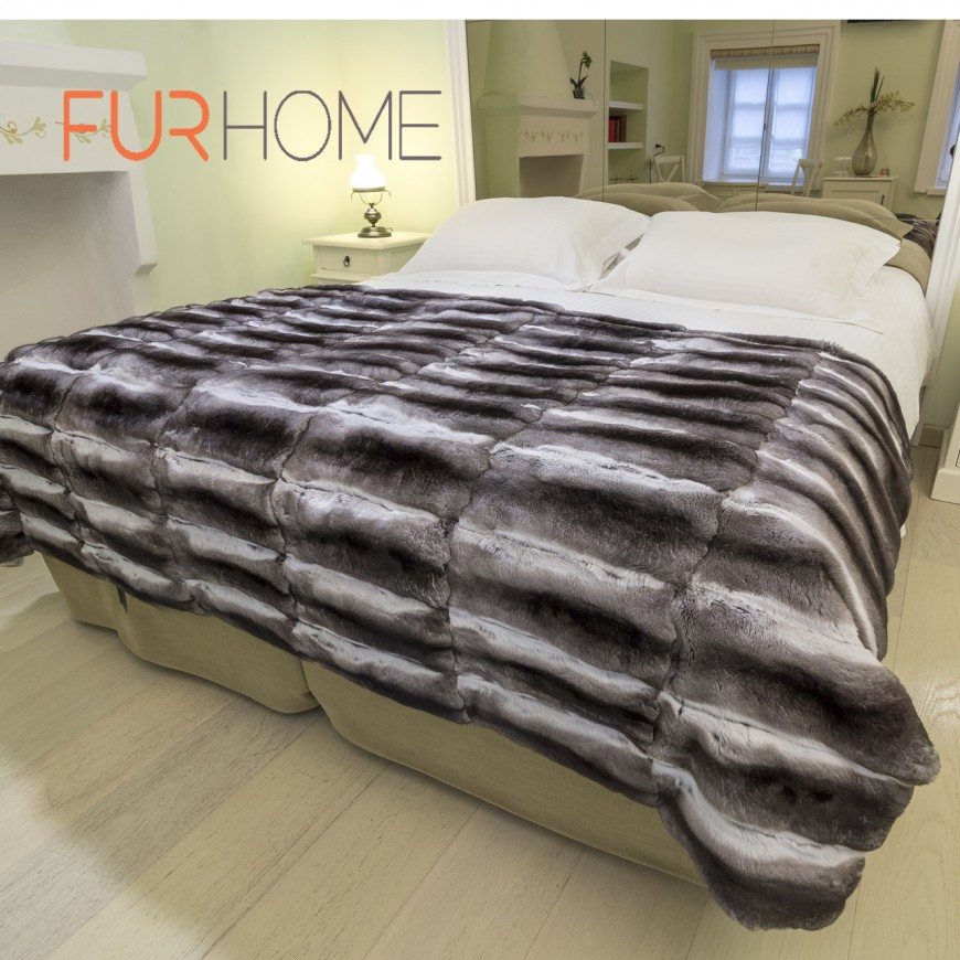 chinchila fur blanket bed cover throw 1