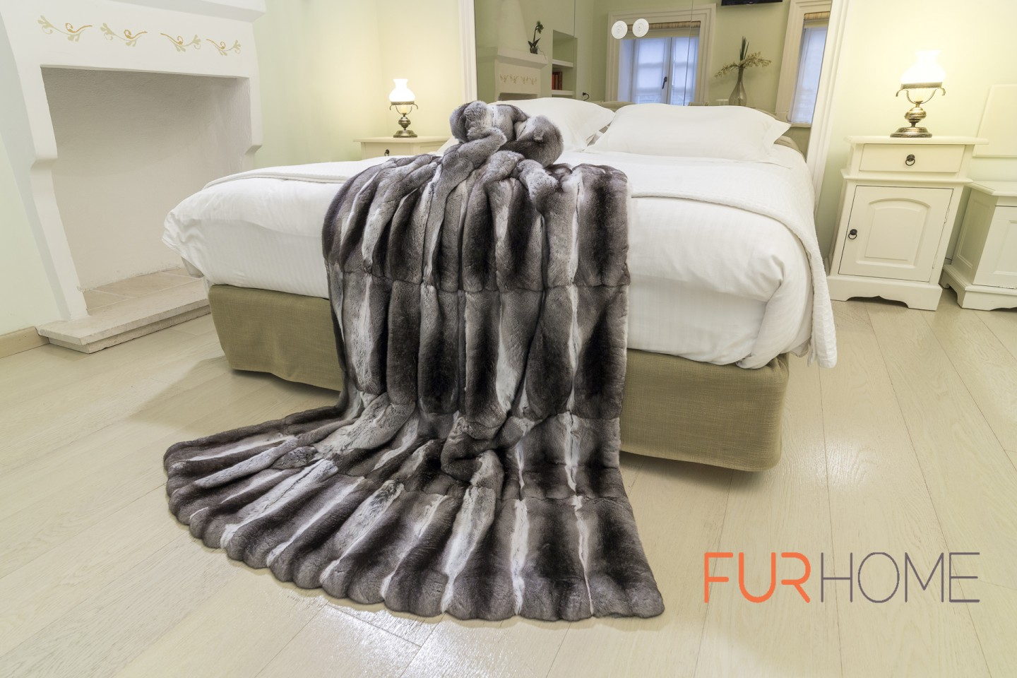 Chinchilla Real Fur Bedspread Bed Cover Throw Fur Home