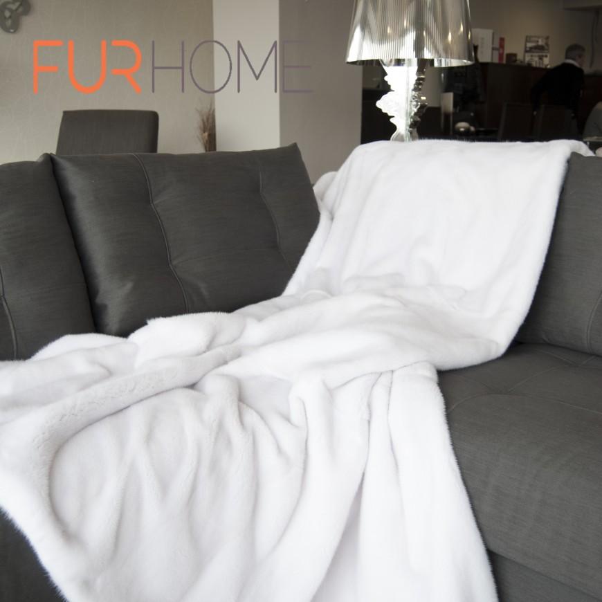 White Mink Fur Blanket 140 x 200 cm
