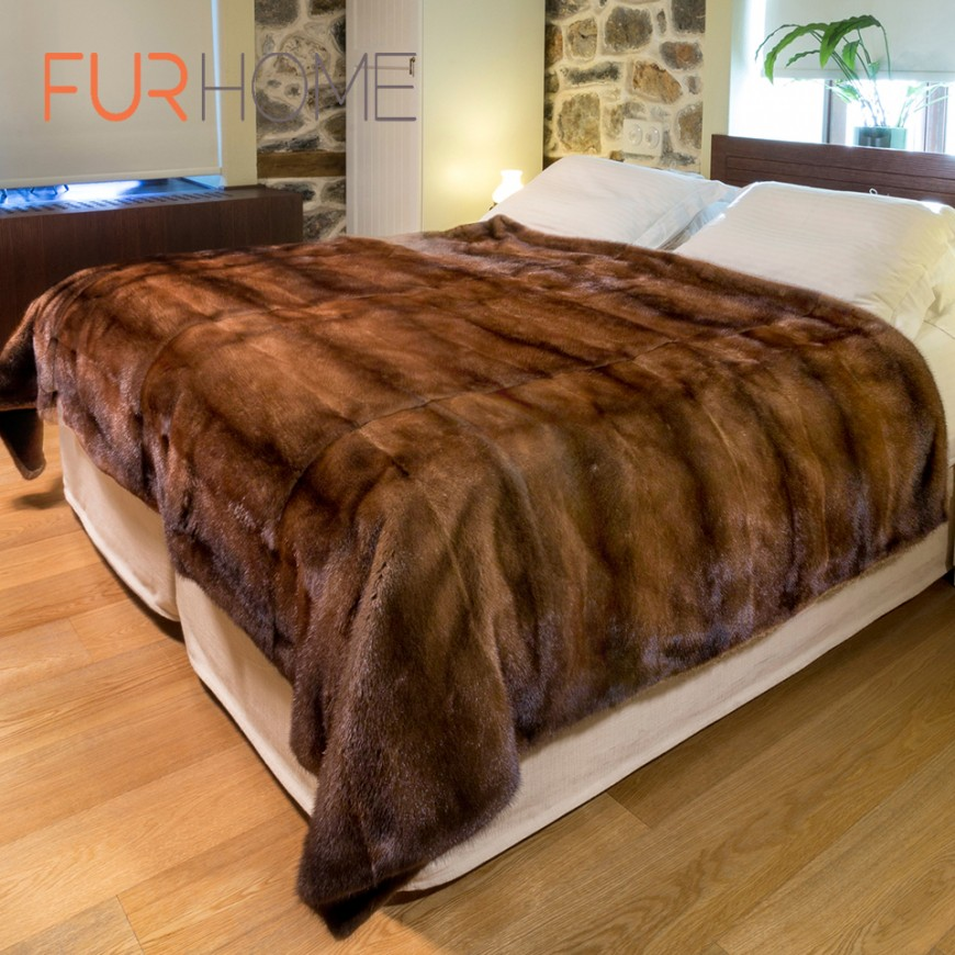 Brown Mink  Fur Blanket throw