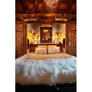 Γούνινo ριχτάρι - κουβέρτα  Tibet Lamp white - ivory