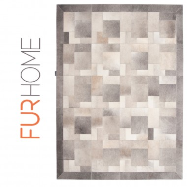 Patchwork cowhide rug k-1978 Puzzle light grey