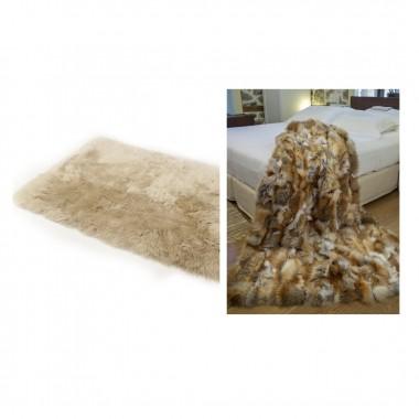 Fox Fur blanket Throw Golden 100% 180x200 cm & Sheepskin light brown 180 x220 cm