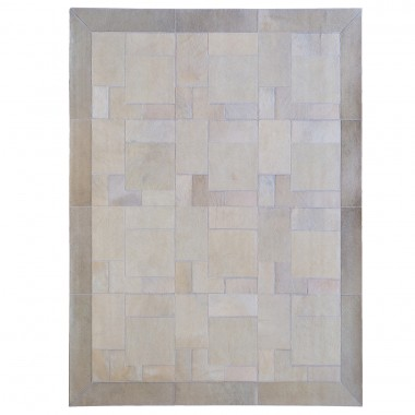 Ivory white puzzle cowhide rug