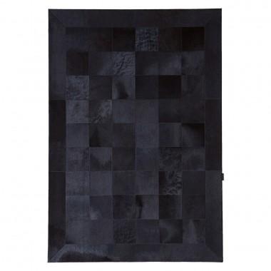 Black Cowhide Rug Panels 20 Border 15