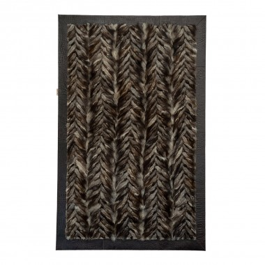 Genuine Fox Fur Rug Crystal with Dark Brown Leather edging - Cevron Design
