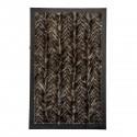 Genuine Fox Fur Rug Crystal with Dark Brown Leather edging - Cevron Design