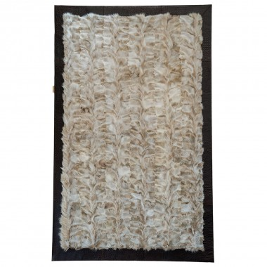 SEVRON FOX FUR WHITE BEIGE FR CROCCO LEATHER