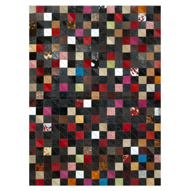 Patchwork Kuhfell Teppich K-1577 mosaik multicolor ecke