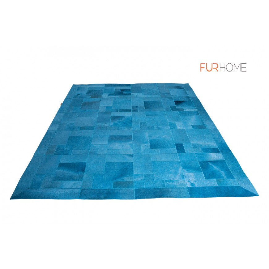 LUXURY LEATHER RUG DESIGN PUZZLE COLOR TURQUOISE