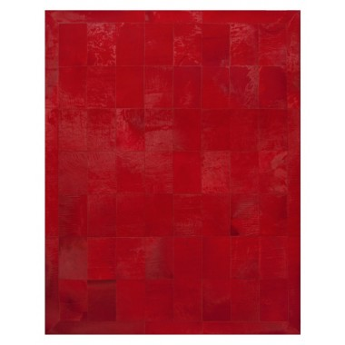 cowhide rug red rosso with frame