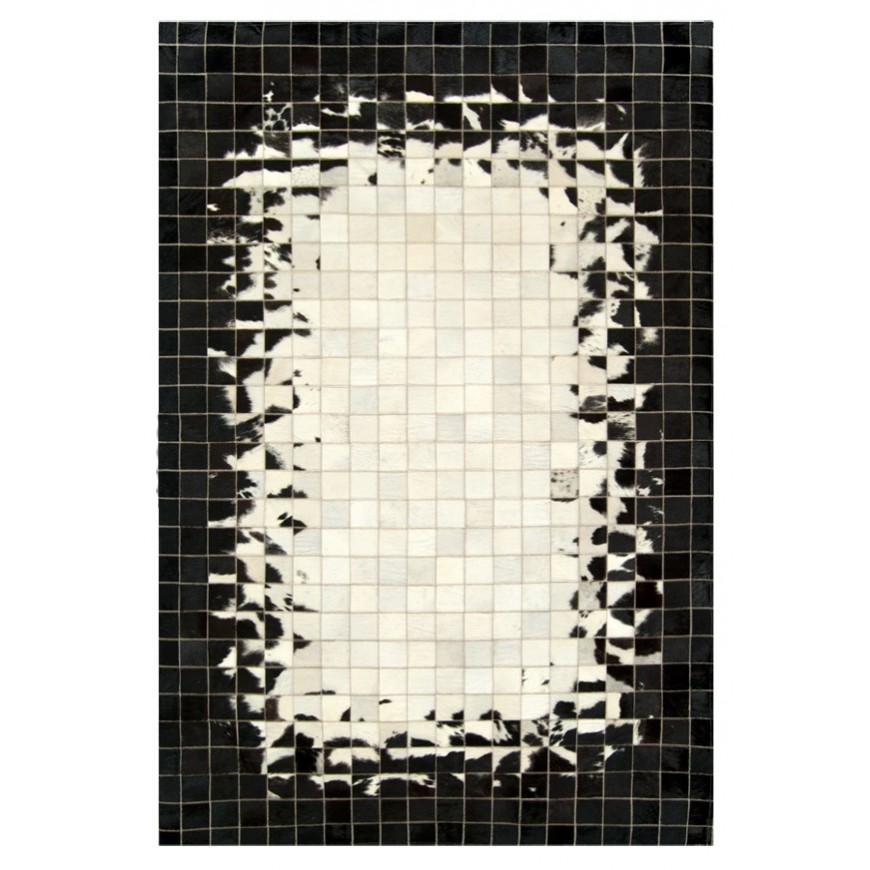 Mosaik cowhide rug black & white feathered