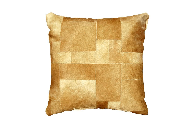 Light Beige Pony Skin Big Floor Cowhide Leather Cushion