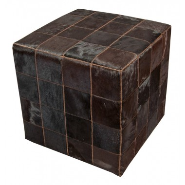 cowhide cube cover*  dark brown patchwork - testa di moro
