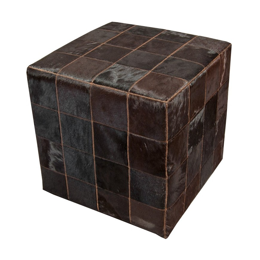 pony skin cube pouf, chocolate brown (testa di moro)