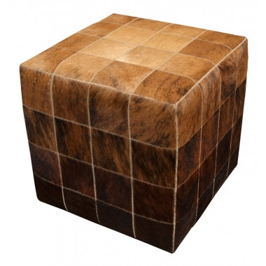 cowskin cube pouf ottoman cover* beige exotic medium dark brown