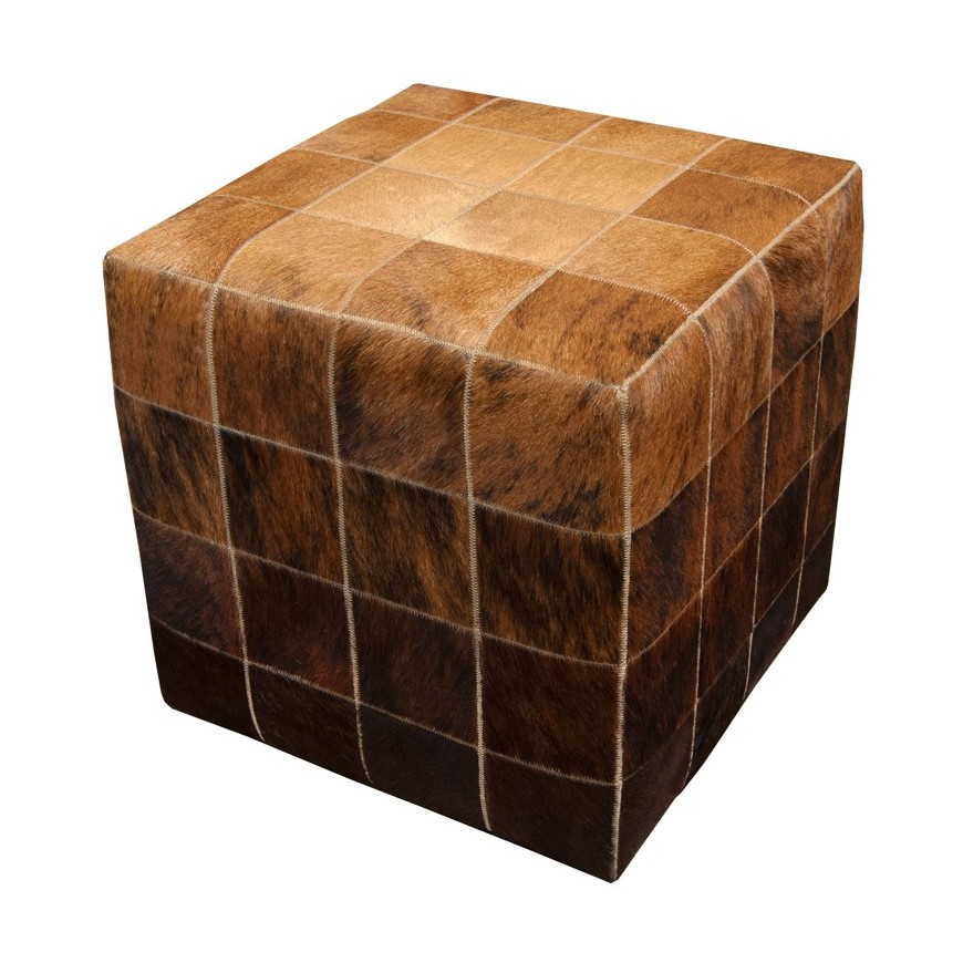 cowskin cube ottoman cover* beiege exotic medium exotic dark