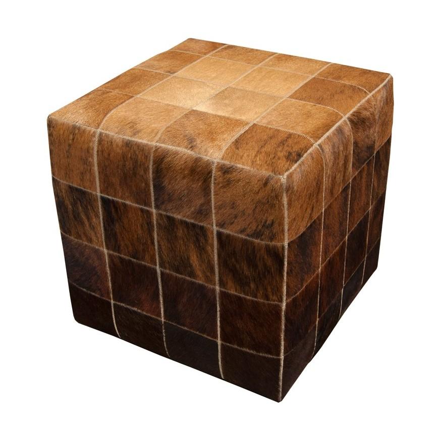 cowskin cube pouf ottoman cover* beige exotic medium dark brown