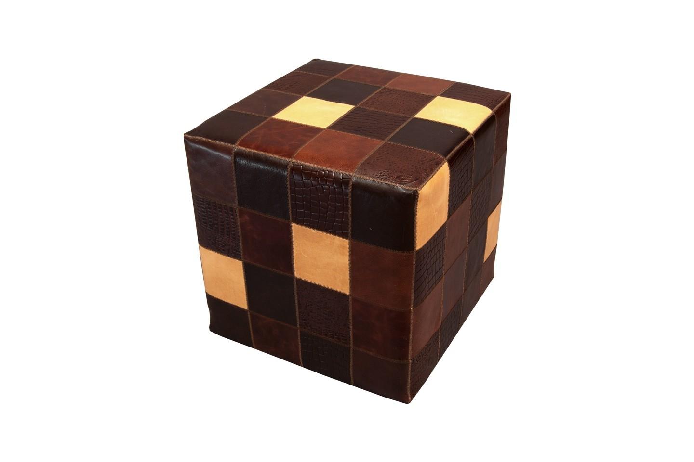 Cowhide Cube Pouf Patchwork Multicolor Brown Fur Home