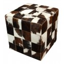 cowhide cube cover* brown white poof, pouf