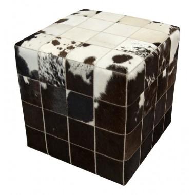 δερμάτινο σκαμπό πούφ άσπρο μαύρο  - pony skin