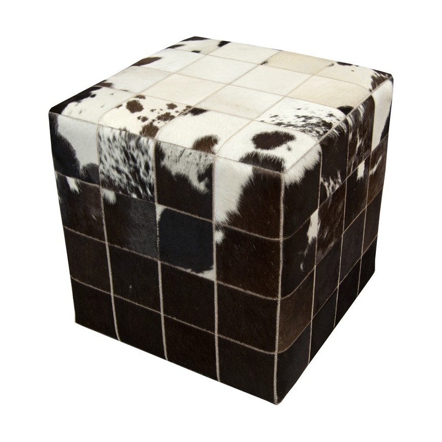 patchwork pony skin cube pouf ottoman cover* white black brown