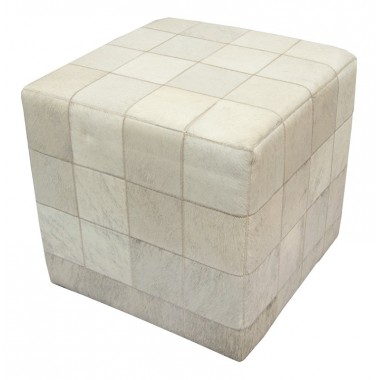 cowhide cube ottoman cover* exotic light grey beige