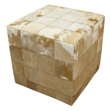 cowhide cube cover* white beige FUR HOME