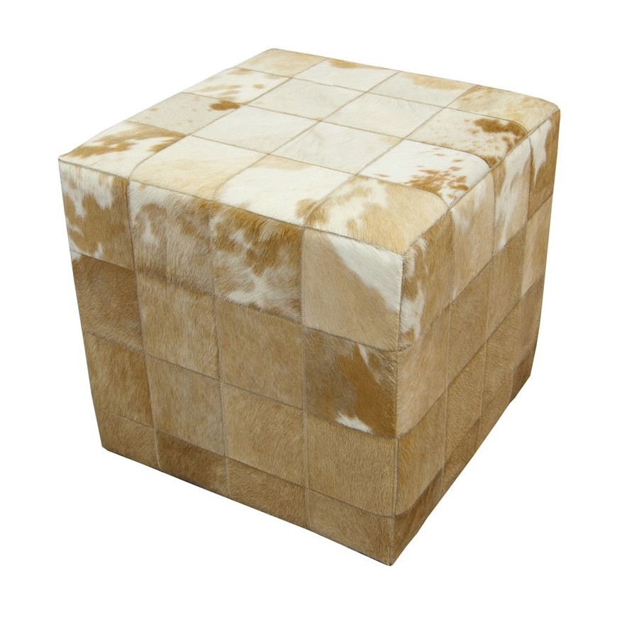 cowhide cube pouf ottoman cover* patchwork white beige
