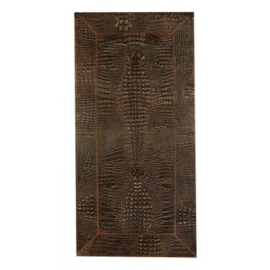 Patchwork leather rug for fireplace croco testa di moro