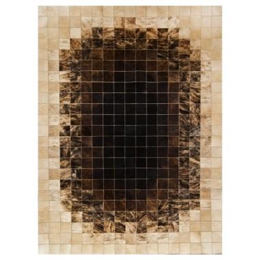 Patchwork Kuhfell Teppich K-1668 mosaik braun & beige