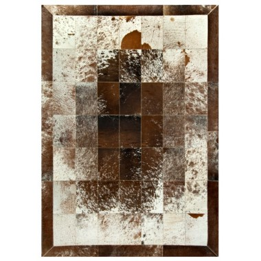 leather carpet rug  k-793  salt pepper brown white 20x30 fr