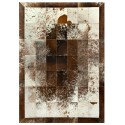 patchwork cowhide rug k-793 s/p brown-white