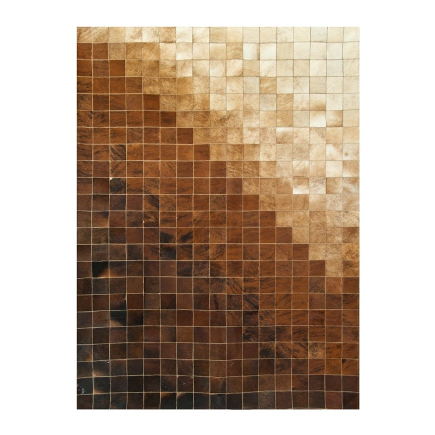 leather carpet rug k-663 Mosaic gradient brown beige
