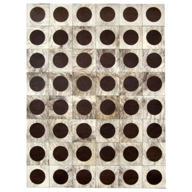Leather carpet rug k-912 30x30 incide circle exotic light grey beige circle croco t moro