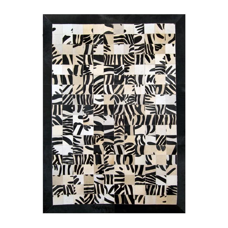 leather carpet rug k-1672 10x10 zebrone on white frame black