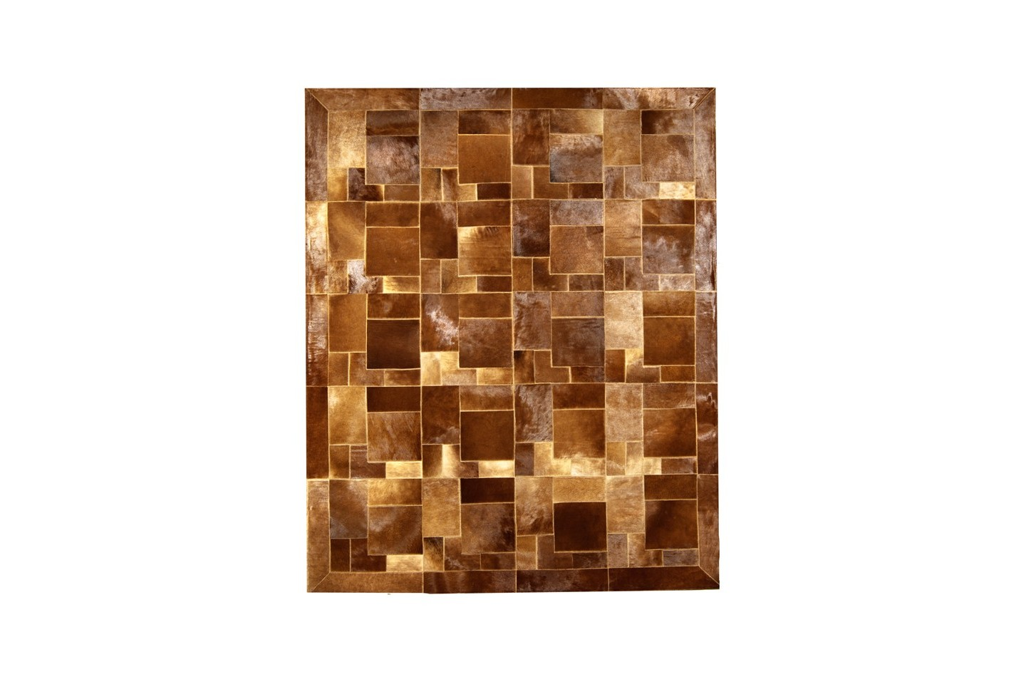 Modern Cowhide Rug Bay Horse Brown Baio Puzzle Fur Home