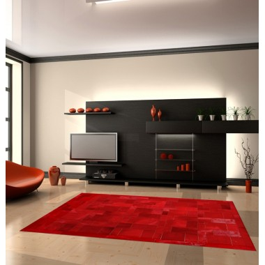 Modern living room featuring our cowhide leather area rug rosso puzzle frame