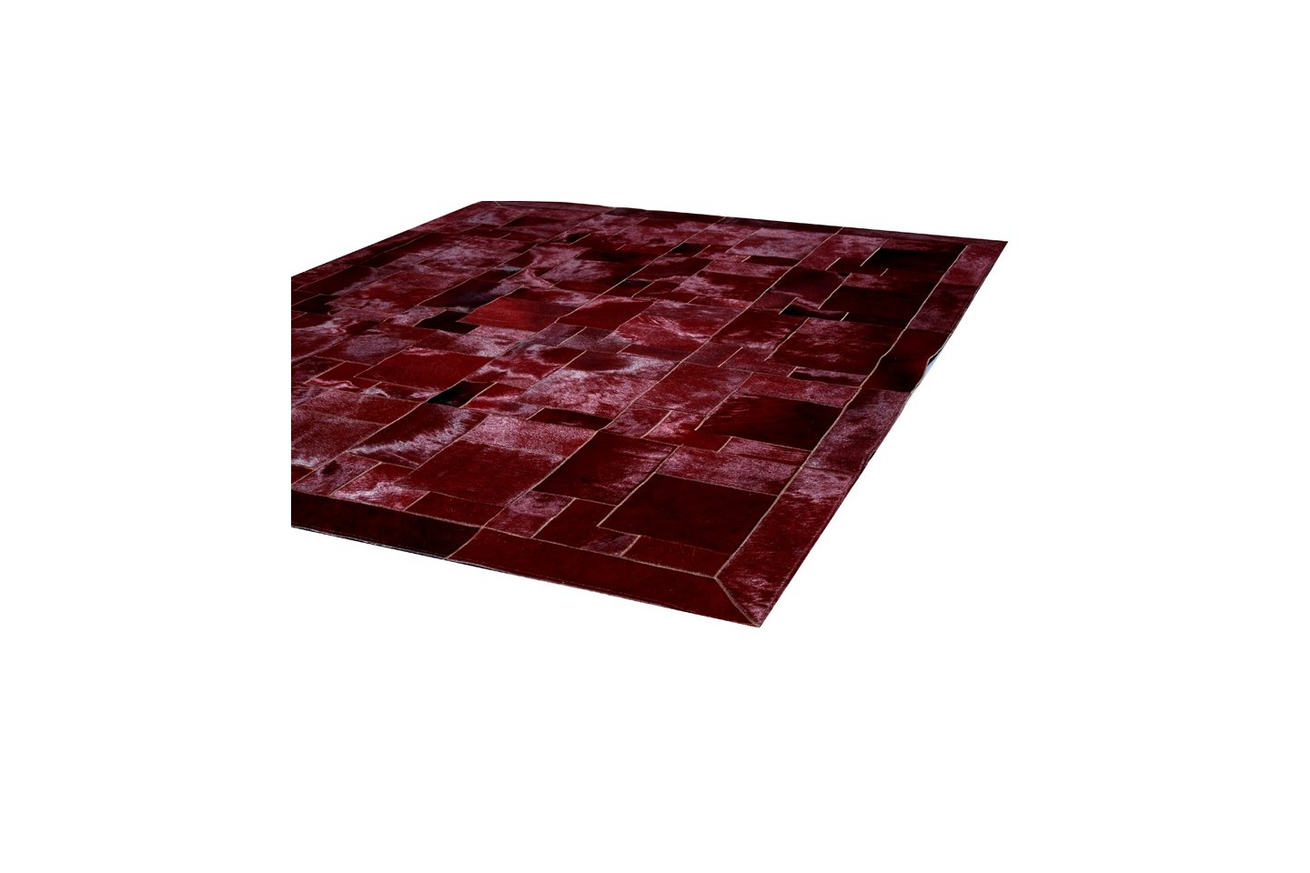 Modern Cowhide Rug Horsy Bordeaux Red Puzzle Fur Home