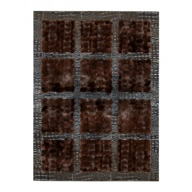 Fur carpet area rug fox nero frame croco nero
