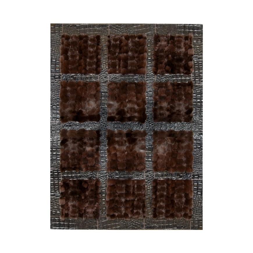 Fur carpet area rug fox nero frame croco nero