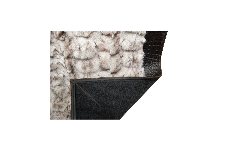 K 971 Blue Fox Fur Rug With Brown Frame Fur Home