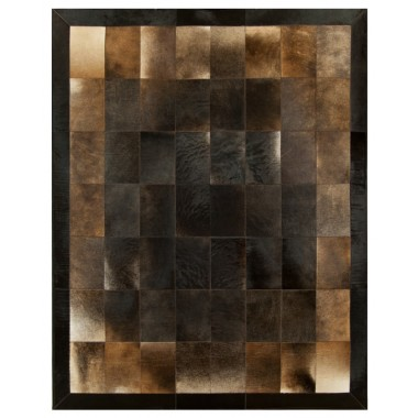 patchwork cowhide rug k-1703 redish tobaco leaves